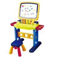 Столик 2 в 1 с доской, табуретом и аксессуарами (100 элементов) PLAYGO